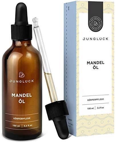 Junglück veganes Mandelöl |100 ml in Braunglas | Feuchtigkeitspflege & Anti-Aging für Gesicht & Haut | Reines Öl aus Kernen der Mandel | Natürliche & nachhaltige Kosmetik made in Germany -