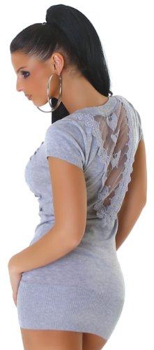 Jela london & robe en tricot pour femme avec broderie en filet dans le dos taille 32–36 Gris - Gris