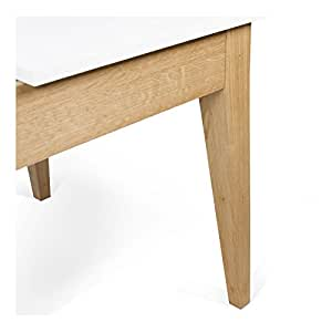 Finn Table de repas rectangulaire extensible de 190cm à 260cm Blanc -