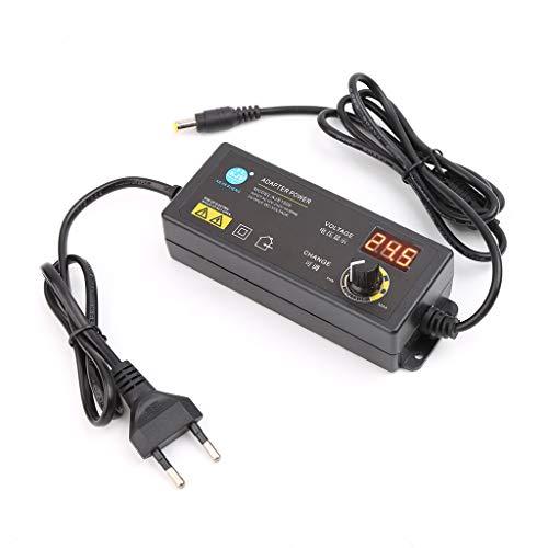 JENOR Einstellbarer Netzadapter Mit Digitalem Spannungsanzeigebildschirm 3V-12V 5A EU-Stecker Video-breakout-box