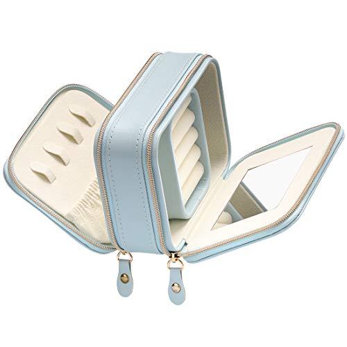 Schmuckkasten, BS Kleine Schmuckkasten aus Kunstleder mit Reißverschlüssen, Eingebauter Spiegel für Damen- und Mädchenringe, Ohrringe, Aufbewahrungsbox für Halsketten Organizer Schmuck, (Blue)