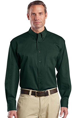 Cornerstone Herren Long Sleeve Superpro Button-Down Twill Shirt Grün - Dunkelgrün