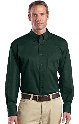 Pierre Angulaire hommes de Canot pneumatique à manches longues bouton en sergé pour homme Vert - Vert foncé