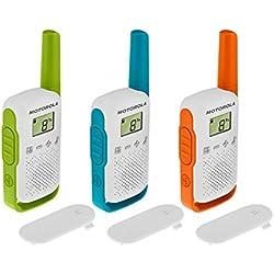 Motorola Talkie-walkie portée de 4 km Blanc avec Contours Orange/Vert/Bleu - Un paquet de 3