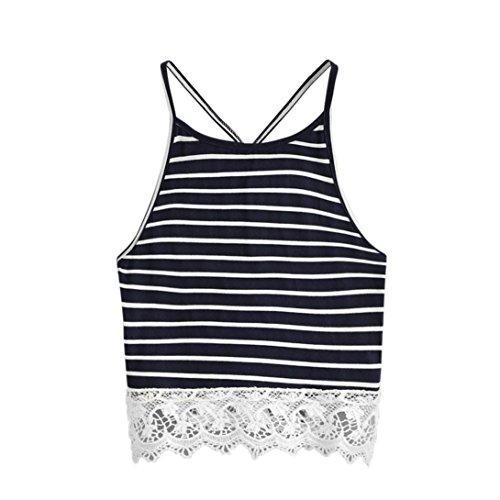 TUDUZ Sommer Damen Streifen Armelloses Spitze Crop Top Weste Tank Shirt Bluse Cami Top Oberteile