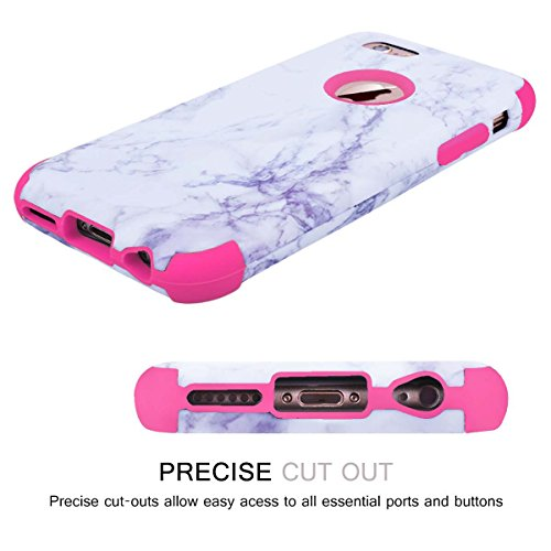 WE LOVE CASE iPhone 6 / 6s Cover Marmo 360-Grad All Inclusive Full Screen Protection Anti-Drop iPhone 6 / 6s 4,7 Custodia Rose Oro Cassa Duro del PC di Plastica e Silicone Morbido Inter Protettiva Pr Pink
