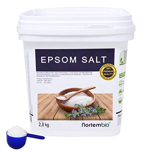 Sal de Epsom NortemBio 2,8kg, Fuente concentrada de Magnesio, Sales 100% Naturales. Baño y Cuidado Personal.