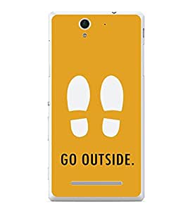 PrintVisa Designer Back Case Cover for Sony Xperia C3 Dual :: Sony Xperia C3 Dual D2502 (Foot Prints Go outside Typography Creative )