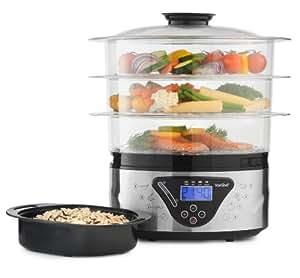 VonShef Digital-Inox-Cuiseur vapeur 3 étages - 8L électrique capacité pour le poisson, la viande et les légumes, le riz, le riz cuit vapeur avec bol