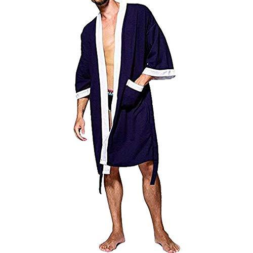 Tyjtyrjty Herren Waffel-Kimono Bademantel Baumwolle Leichtes Nachthemd Spa Frottee Bademantel Nachtwäsche mit Taschen - Mehrfarbig - Large - Herren Waffel