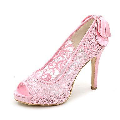 Wuyulunbi@ Scarpe donna Lace Primavera Estate della pompa base scarpe matrimonio Stiletto Heel Peep toe per la festa di nozze & Sera Una Rosa Bianco Nero Rosa