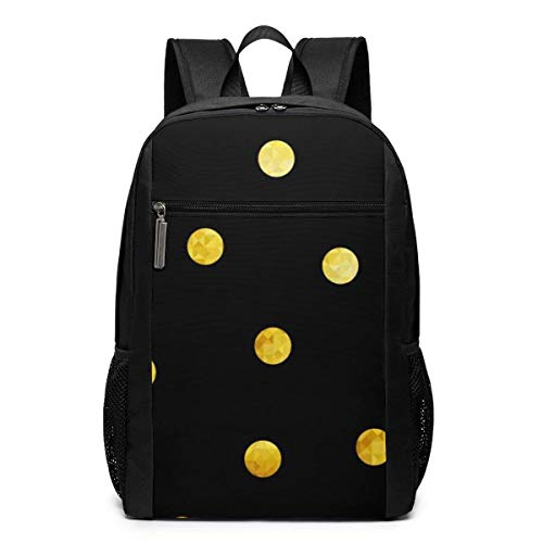 TRFashion Rucksack Geometrical Gold Dots Laptop Computer Backpack 17 Inch Large Casual Business Daypack Laptop Bag Schoolbag Book Bag for Men Women Black - Notebook-tasche Kate Spade