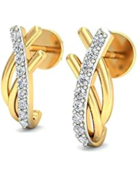 Belle Diamante 18KT Yellow Gold and Diamond Stud Earring