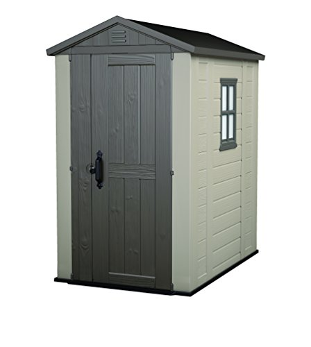Keter Factor Outdoor Plastic Garden Storage Shed, 4 x 6 feet – Beige