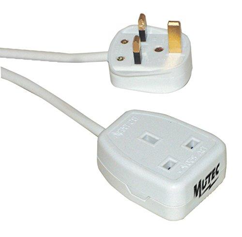 MutecPower 3 Meter UK Verlängerungskabel mit 90° abgewinkelt UK-Stecker - geerdetes AC Stecker auf Buchse - BS 1363 Stecker auf BS 1363 Steckdose - bis 250 V, 50 Hz, 16 A - Nicht polarisiert 3m VDE