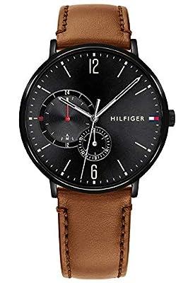 Tommy Hilfiger Reloj Multiesfera para Hombre de Cuarzo con Correa en Cuero 1791510
