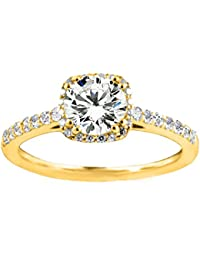 Silvernshine Womens Solitaire With Accent Engagement Wedding Ring In 14k Yellow Gold PL
