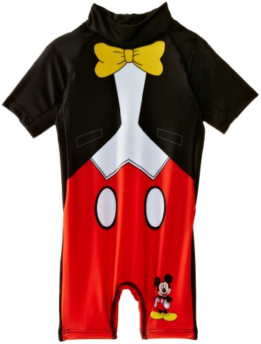 Disney Mickey - Bañador para niño, Color Black Black/Optic White/Red, Talla 2 años