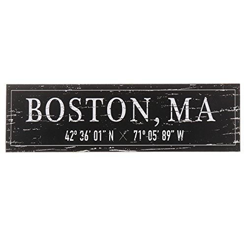 Barnyard Designs Boston, MA City Sign in rustikaler Deko Holz Wand Decor 43,2 x 12,7 cm