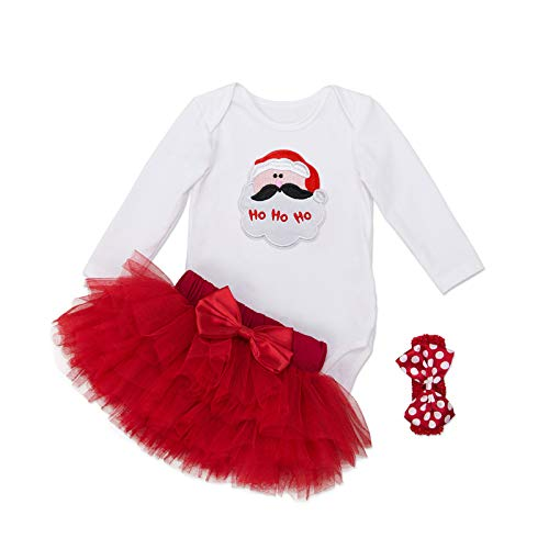 Babykleidung Kleinkind Mädchen Mein 1. Weihnachten 3 STÜCKE Kurzarm Strampler Bodysuit Outfit Kostüm Tutu Rock Haarband Bow Ballerina,Santa Claus-M(3-6months)