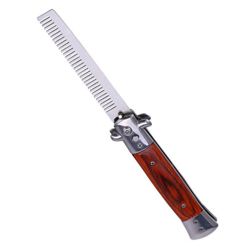 Switchblade Spring Folding Knife Push Button Pocket Comb Oil Hair Styling(04) -