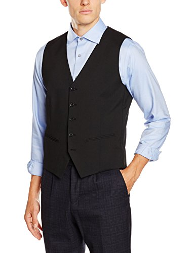 Chino-zwei-knopf-anzug-jacke (SELECTED HOMME Herren SHDNEWONE-MYLOLOGAN1 BLACK WAI-COAT NOOS Weste, Schwarz), 48)