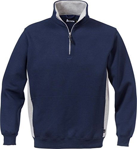 Double Face Zip (Fristad Kansas - Sweatshirt Short Zip CODE 1705 Large Navy/Grey 100209-586 L)