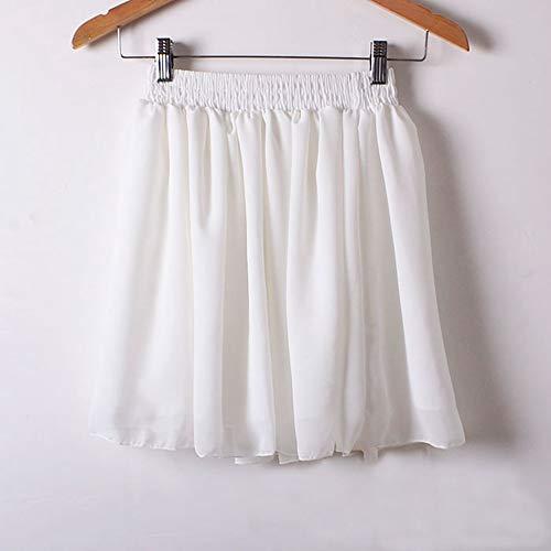 HEHEAB Rock,Weißer Minirock Sommer Europa Us-Außenhandel Modelle Röcke Der Frauen Chiffon Faldas Faltenrock - Weiß Chiffon