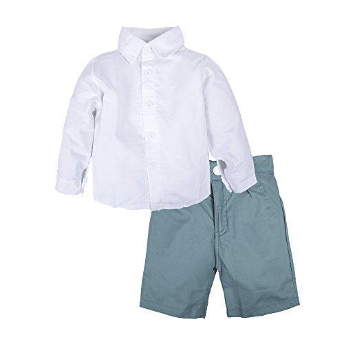 BIG ELEPHANT Kid Jungen 2 Stück Sommer Kurzarm Hose Shirt Kleidung Set Q24 18-24 Monate, weiß