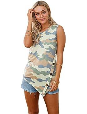 Camiseta de tirantes con estampado de camuflaje asimétrico, con botones, para fiestas, uso informal, verano, talla...