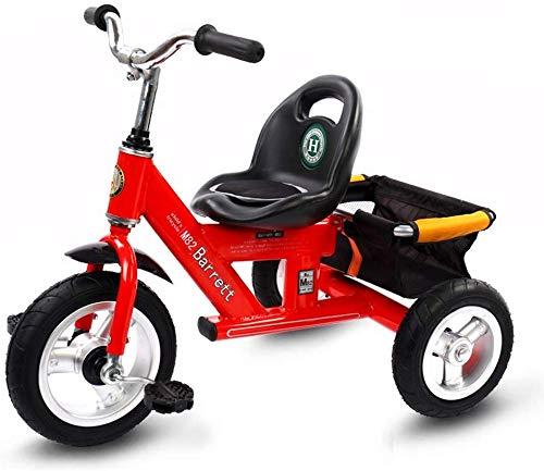 WLD Training Fahrradrahmen Kinderwagen Kinder Fahrrad Baby Bike 1-3-2-6 Jahre Alt Dreirad Kinder Outdoor Kinderwagen 4 Farboptionen Junge Mädchen Geburtstagsgeschenk,rot