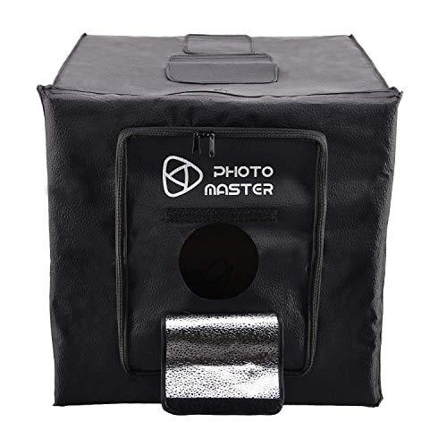 ierendes Würfel Zelt 60x60x60cm Mini Studio Licht Kit Einstellbare LED Lampenleistung 5500K, mit 3 Weißen und Orange Schwarzen PVC Hintergrund ()