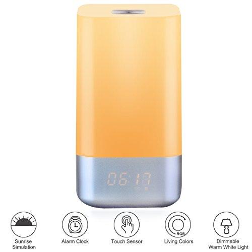 Kainuoa Lámpara Despertador LED Inteligente Despertarle con Luz de Simulación de Salida del Sol Gradualmente y 5 Sonidos Naturales cada Mañana Cargarse Energía del día