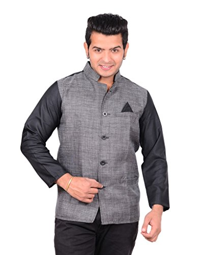 Aurum Creations GRAY & BLACK STAFF JACKET NEHRU STYLE - Size 42