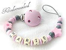 Cadena para chupete con nombres, flor, Bautizo, estrella, margarita, color rosa, gris, niña