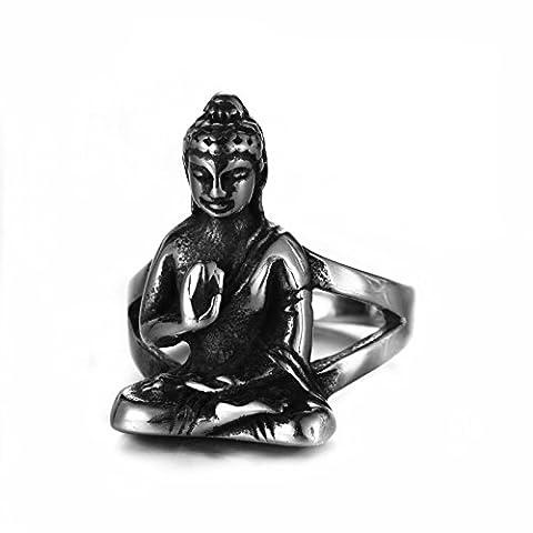 ZQZA Bijoux Bague Homme Acier Inoxydable Statue de Bouddha Anneaux - Couleur Argent Noir