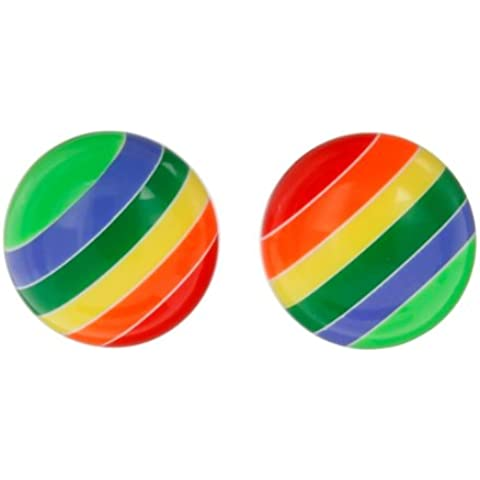 So Chic Joyas - Pendientes Cierre presión botón Chica Plata 925 - Resina - Bola - Arco iris