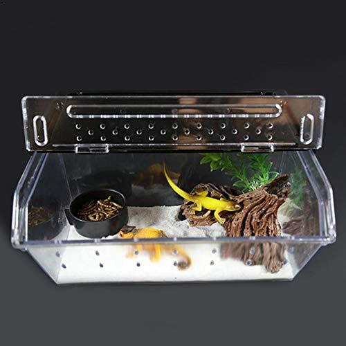 Reptil Zuchtbox Terrarium, 24 x 15 x 10 cm Stapelbar Tutschfeste Piste Design transparente Pet-Reptilien Schlupftanks Container für Schlangenspinne Echse Skorpion Hundertfüßer Gehörnter Frosch Gecko