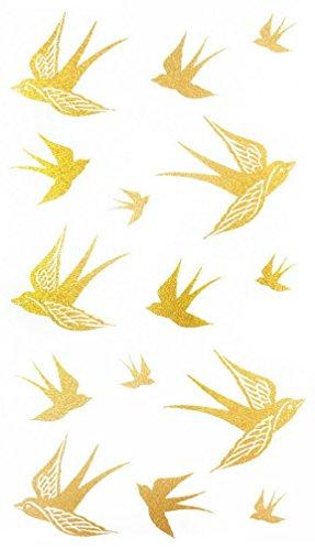 Flash Tattoos Métal Or hirondelles ou oiseaux, tatouages éphémères Stickers, une fois Tattoo adhésives pour la peau à corps, main ou Bras, jambes et visage