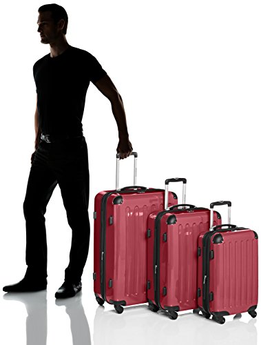 HAUPTSTADTKOFFER – Alex – Set of 3 Hard-side Luggages Glossy Suitcase Hardside Spinner Trolley Expandable (S, M & L) Red