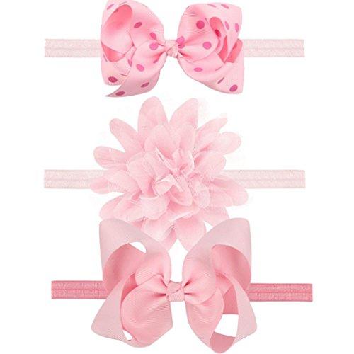 3 PCS Stirnbänder Transer® Baby Mädchen Stirnband Handgemachte Halten Kopf Zubehör Tuch Elastisches Haarband Größe: Fit für 0-3 Jahre Baby (Rosa)