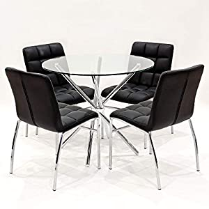 418xOm%2ByswL. SS300  - 90cm Round Glass Criss Cross Table With Four Black Coco Dining Chairs