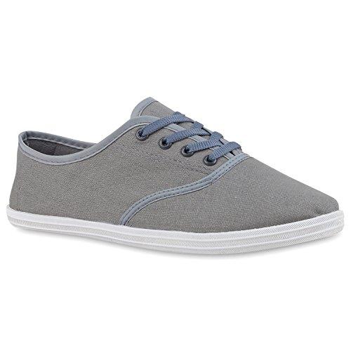 Unisex Basic Sneaker | Damen Sneakers | Herren Sneaker Low | Freizeit Turnschuhe Stoff | Schnürschuhe Grau