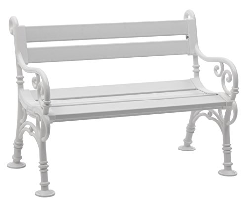 Sitzbank / Gartenbank 2er Design: Linderhof, Länge 115cm, weiß (hochwertiger Kunststoff, Parkbank Made in Germany)