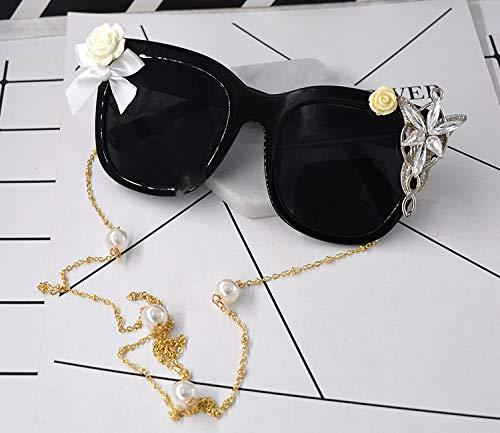 Polarisierte Sonnenbrille mit UV-Schutz Romantische Kristall Handgemachte Blume Und Band Barock Sonnenbrille Für Frauen Strand Sonnenbrille Modenschau Stil Sonnenbrille Eyewear Quaste Kette Sonnenbril