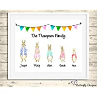 Personalised Peter Rabbit Family Watercolour Premium Print Picture A5, A4 & Framed Options - Design 3