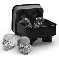 Delicacydex Creative Skull Ice Cube Tray 3D Cool Shape Molde de Silicona Flexible Cuatro Gigantes Cráneos Helados Molde de fácil liberación para Barra Inicio - Negro