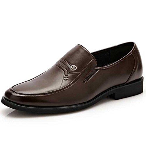 Men's Pu Leather Solid Slip On Platform Flats Dress Shoes brown