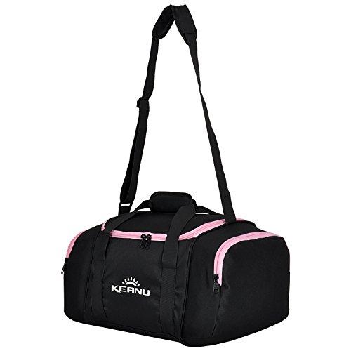 Praktische Sporttasche 43 Liter :: faltbar, Wäschefach, Wertfach :: KEANU Fitness Yoga Sauna :: grosse multifunktionale Tasche für Gym Sport Reise Wellness :: Reisetasche Small (Schwarz Pink)