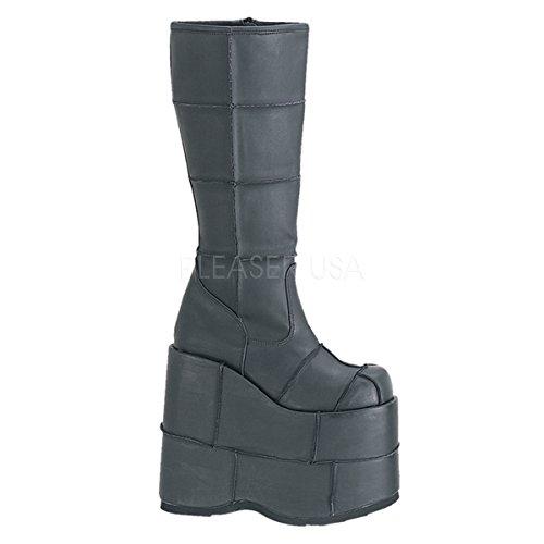 Demonia Knee Boots Stack-301 mattschwarz Gr. 39,5 (Stack Heel)